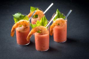 Веррин с тигровой креветкой и мусса с свежих томатов (1 шт.)